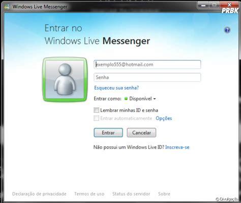 tela de login do windows live messenger purebreak