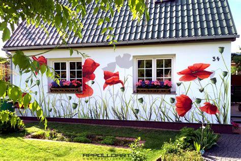 Garten Gestalten Hauswand by Hauswand Bungalow Gestaltung Mit Mohnblumen Graffiti