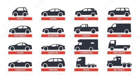 자동차 종류 및 모델 개체 아이콘 세트, 자동차