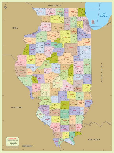 buy illinois zip code  counties map