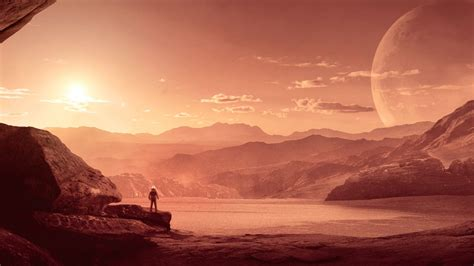 wallpaper mars astronaut  sci fi  space