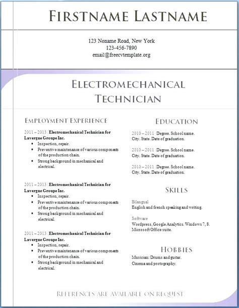 resume template ms word     microsoft