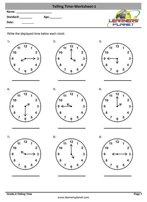 grade  mental math worksheets telling time maths