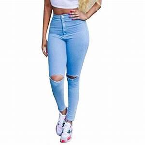 Jean Bleu Troué Femme : achat jardin r v femme pantalon printemps jeans trou taille haute denim leggings collant fr38 ~ Melissatoandfro.com Idées de Décoration