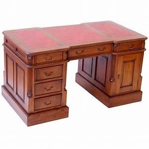 Bureau De Style : bureau de style anglais 140 cm en acajou sous main rouge ~ Teatrodelosmanantiales.com Idées de Décoration