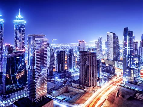 united arab emirates dubai downtown night  scenario