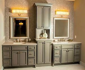 Matching bathroom vanity and linen cabinet bathroom for Kitchen craft bathroom vanities