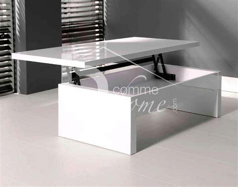 cuisine wengé table basse transformable blanc laque