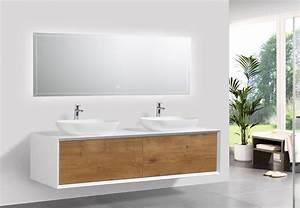 Badmöbel Set Holzoptik : badm bel fiona 1600 wei matt front in eiche optik spiegel und aufsatzwaschbecken optional ~ Watch28wear.com Haus und Dekorationen