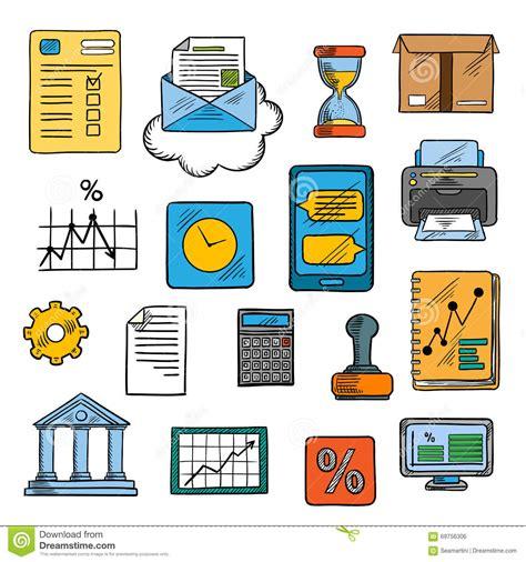 affaires de bureau affaires bureau symboles financiers style de croquis
