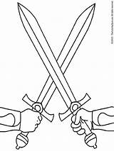 Swords Crossed Coloring Pages Colouring Medieval sketch template