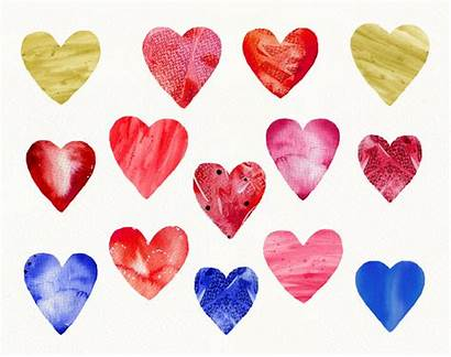 Valentine Abstract Clipart Watercolor Heart Valentines Textured