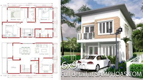 House Plans 7x12m with 4 Bedrooms Plot 8x15 Проекты