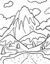 Coloring Mountain Pages Printable Pdf Coloringcafe sketch template