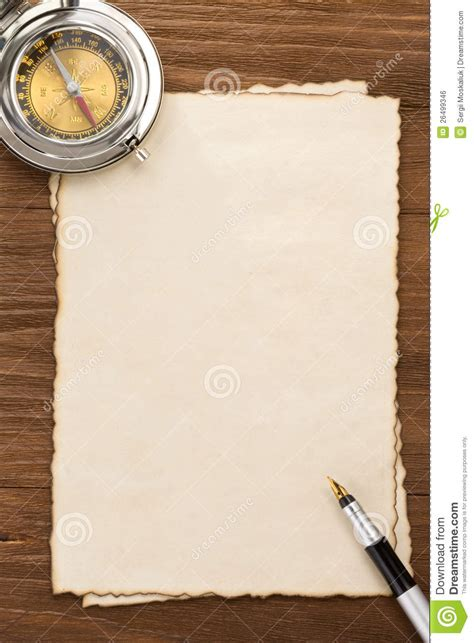 ink   compass  parchment background stock photo