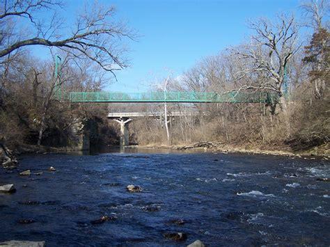 bridgehuntercom rock creek suspension bridge kankakee