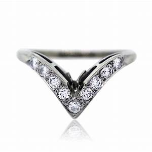 14k White Gold And Diamond V Shaped Wedding Band Ring Boca