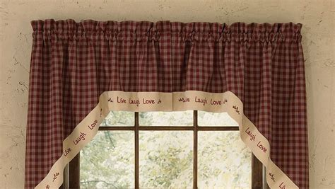 primitive country kitchen curtains country primitive sturbridge wine swags live laugh 4414
