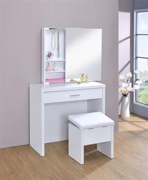 contemporary white vanity  upholstered stool set