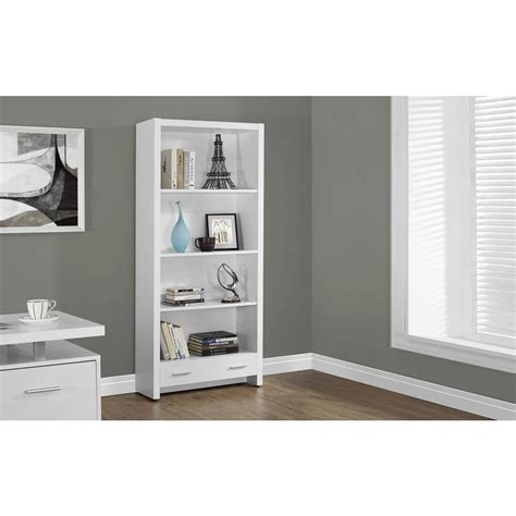 White Bookcase by Monarch Specialties White Storage Open Bookcase I 7086