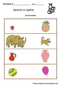 worksheet  kindergarten  tick heavier oneplay school