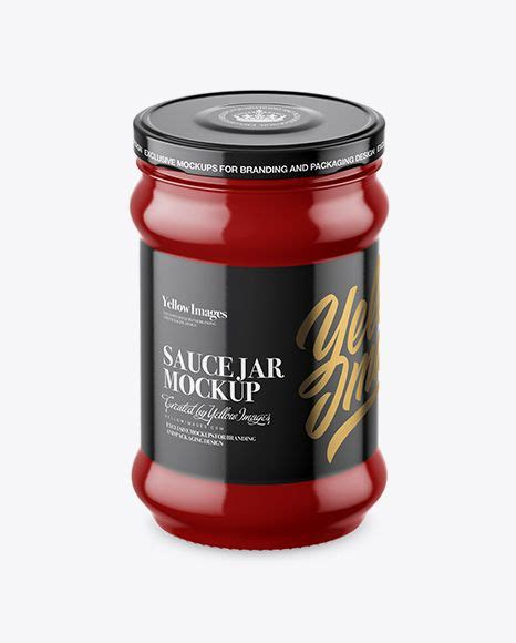 Sample design is not included in the download file. Download Glossy Sauce Jar Mockup (High-Angle Shot) Object ...