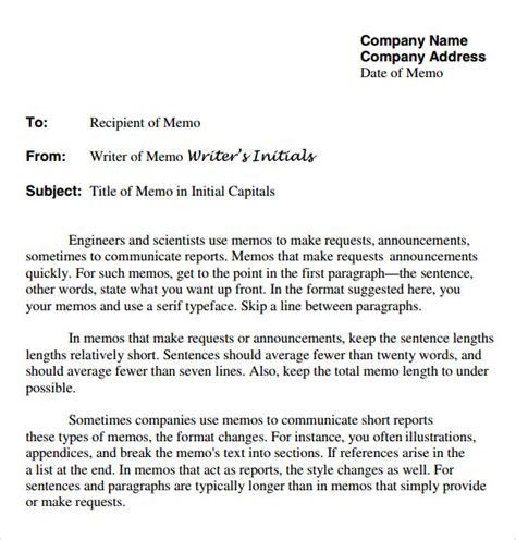 sample company memo template  documents