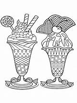 Coloring Pages Ice Cream Zentangle Adults Adult Mycoloring Printable sketch template