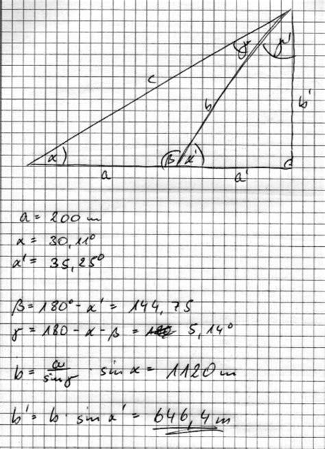 sinus cosinus und tangens wie berechnet man die hoehe