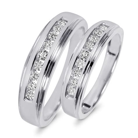 and wedding ring sets 3 8 carat t w his and hers wedding band set 10k white gold my trio rings wb501w10k