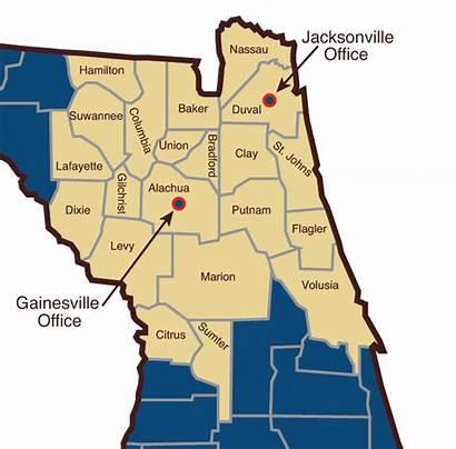 Florida Northeast Map Counties Gainesville Serve Jacksonville