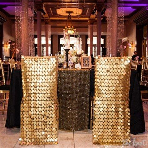 gold sequined chair covers from miss to mrs