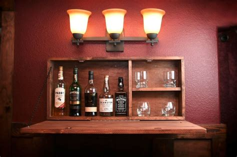 rustic wooden murphy bar hidden liquor cabinet wall