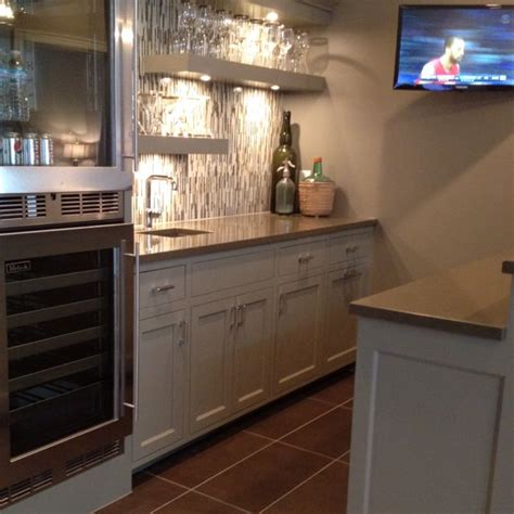 Cool Basement Bar With Mini Fridge And Corian Counter