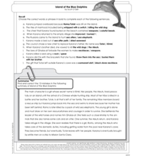 island of the blue dolphins activity sheet by o dell