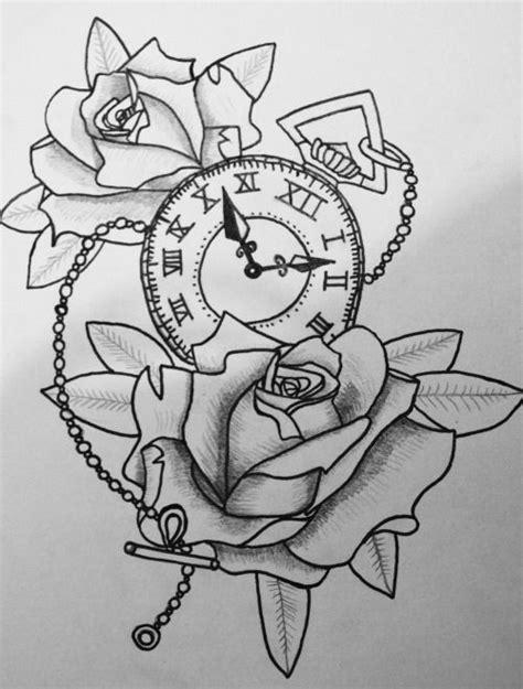 Drawing of roses and a clock   Clock drawings, Rose tattoo