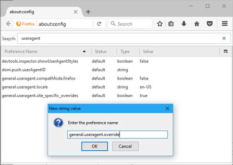 agent user change useragent browser extensions installing without any preference override general