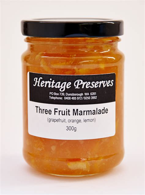 what is marmalade heritage preserves three fruit marmalade 300g urban locavore