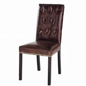 chaise capitonnee en cuir et bois marron elizabeth With deco cuisine avec chaises cuir marron salle manger