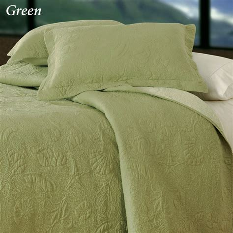 Green Coverlets by Reversible Shell Quilted Matelasse Coverlets