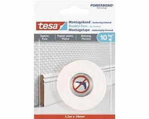Tesa Powerstrips Tapete : montageband tesa weiss f r tapete putz 1 5 m x 19 mm kaufen bei ~ Eleganceandgraceweddings.com Haus und Dekorationen