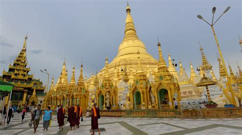 sacred buddhist place shwedagon pagoda yangon myanmar