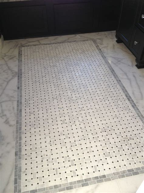 Marble Basketweave floor tile   honed vs polished?