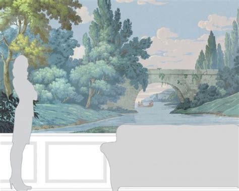 Antique Block Printed Scenic Wallpaper  French Landscape
