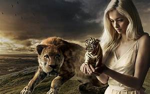 Blue, Girl, With, Tiger, Desktop, Wallpaper, Hd, For, Mobile, Phones, And, Laptops, Wallpapers13, Com