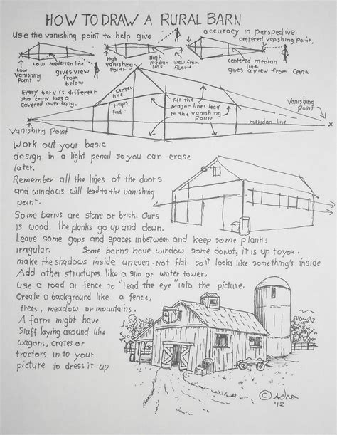 How To Draw A Barn by How To Draw Worksheets For The Artist How To Draw A
