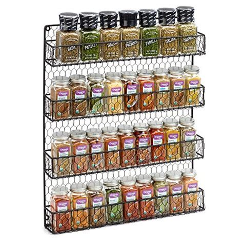 Metal Wall Spice Rack by 4 Tier Rustic Metal Wire Hanging Spice Rack Easy Wall