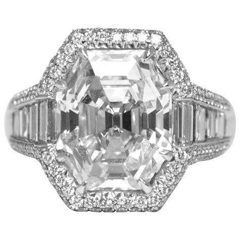 carat octagonal emerald cut diamond platinum