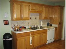 Natural Oak Wood Kitchen Cabinet With White Porcelain