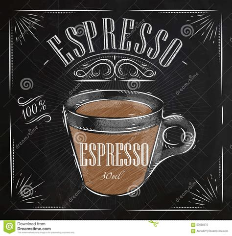Poster espresso chalk stock vector. Image of glass, cafe   57658370